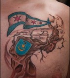Puerto Rican Flag Theme Tattoo Design for Men