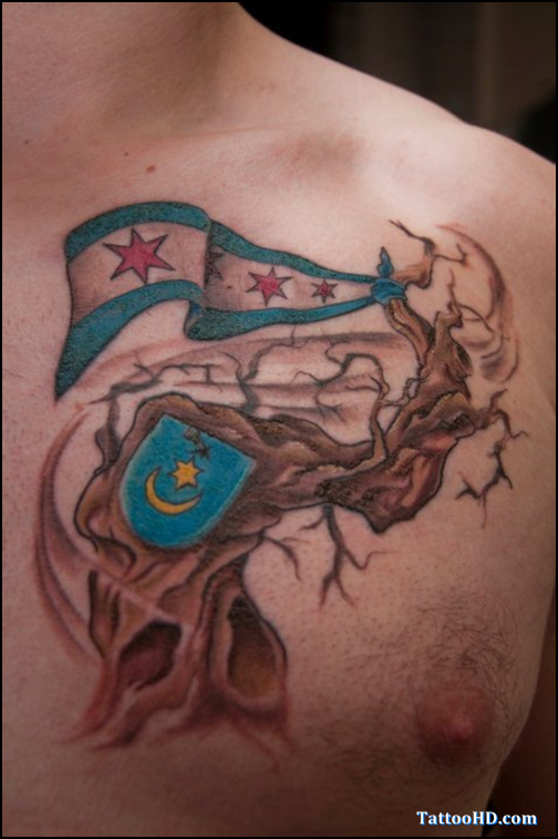 Puerto Rican Flag Theme Tattoo Design for Men