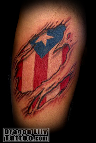 Beautiful Puerto Rico Flag Under Your Skin Tattoo Design