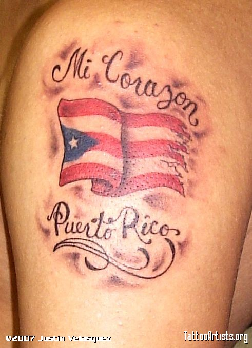 Exotic Puerto Rican Flag Quotes Tattoo Idea for Men