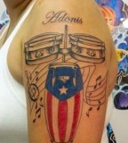 Stunning Musical Theme Puerto Rican Flag Tattoo Design