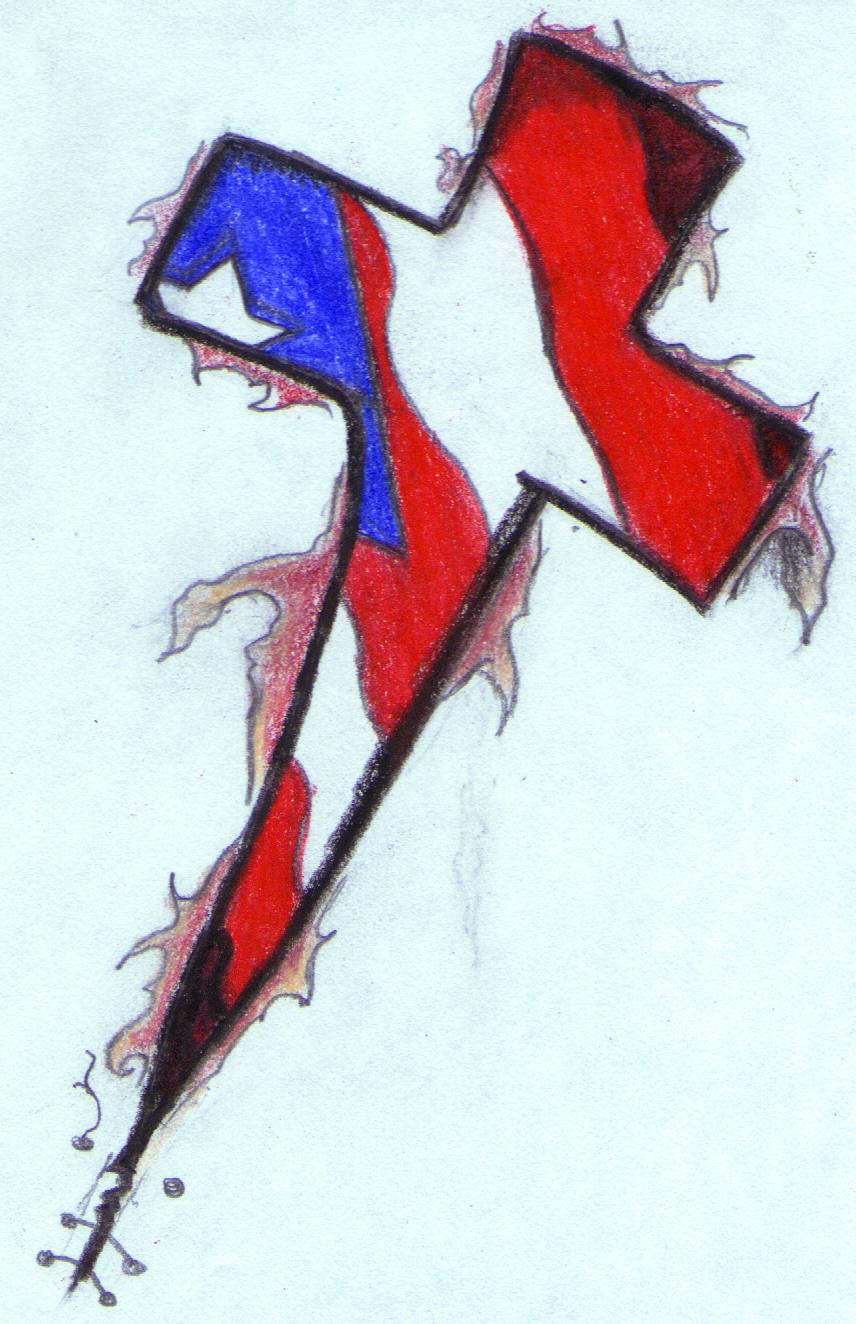 Puerto Rican Cross Tattoo Sketch