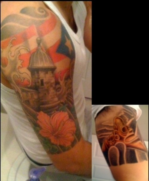 Amazing Puerto Rican Flag Half Sleeve Tattoo Design Idea for Men