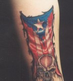 Amazing Puerto Rico Skull Tattoo on Men Inner Upper Arm