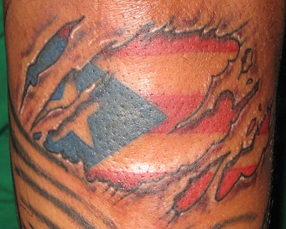 Puerto Rican Flag Under the Skin Tattoo Design Idea for Men