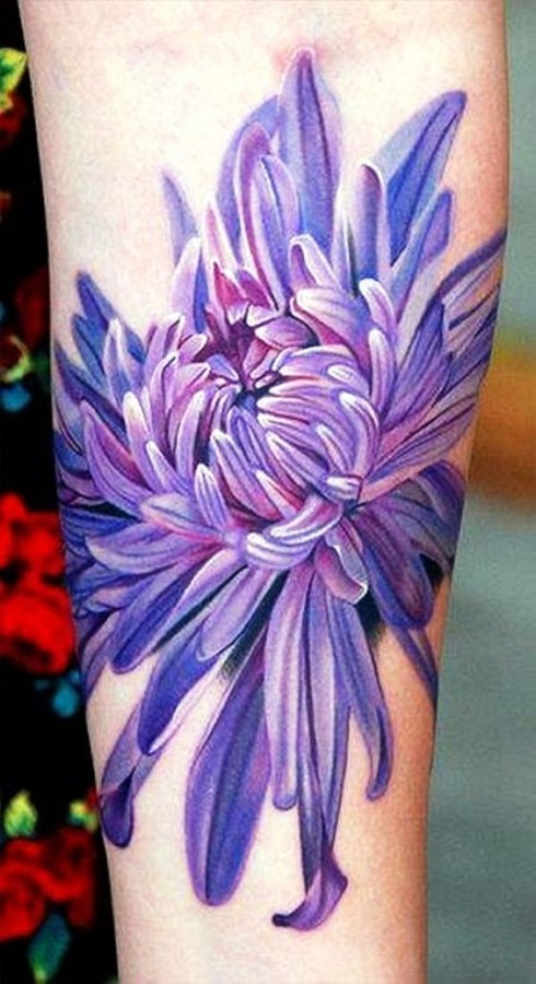 purple Chrysanthemum flower tattoo