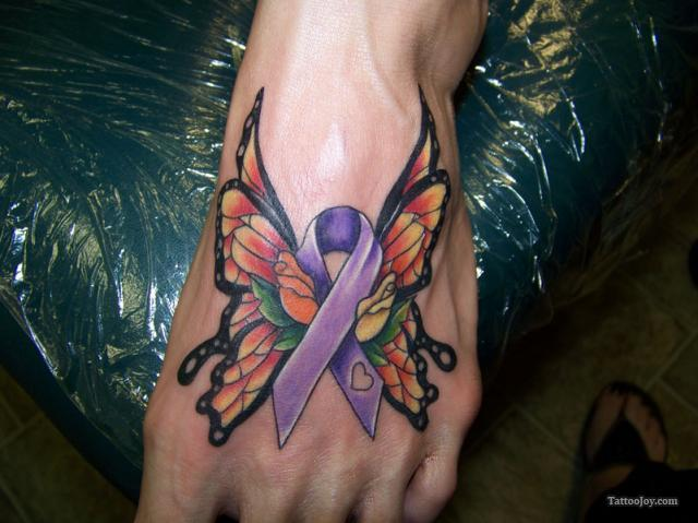 Cool Butterfly Ribbon Foot Tattoo Design