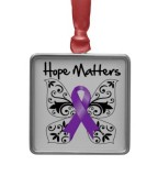 Purple Ribbon Awareness Hope Matters Christmas Tree Ornament