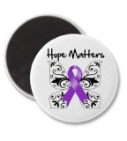 Purple Ribbon Awareness Hope Matters Refrigerator Magnets