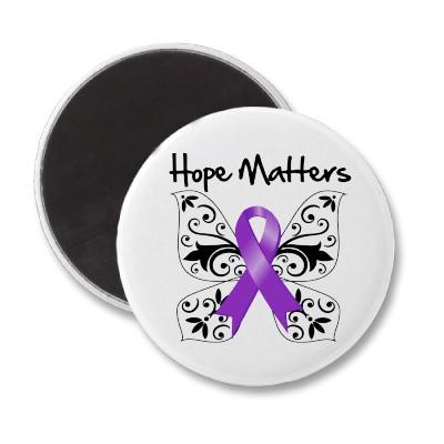 Purple Ribbon Awareness Hope Matters Refrigerator Magnets