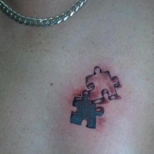 3D Design Pair of Puzzle Pieces Chest Tattoo Design Idea for Men