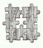 Wooden Layout Puzzle Pieces Drawing for Tattoo