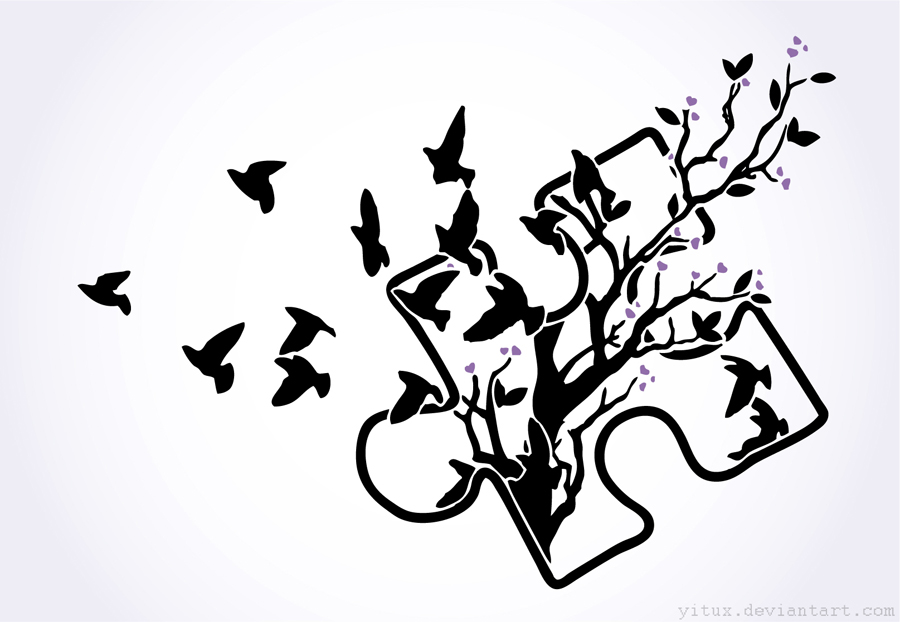 Puzzle Piece Into Birds Tattoo Design Sketch By Yitux