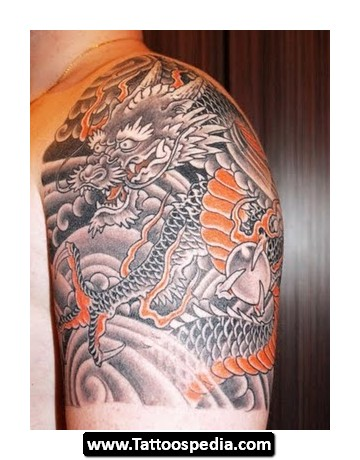 Black Orange Dragon Quarter Sleeve Tattoo