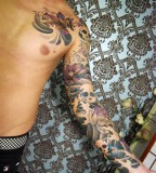 Best of Blend Flower And Skull Quarter Sleeve Tattoo