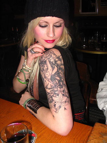 Beautiful Girl With Sexy Prince Quarter Sleeve Tattoo