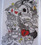 Card Skull Tattoo Sleeve Design Sketch