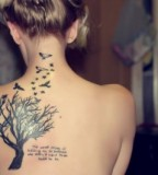 Beautiful Quote Tattoos with Birds and Tree