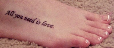 Fancy Love Words Tattoo Photo On Foot