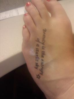 Beauty Quotes Tattoo On Foot