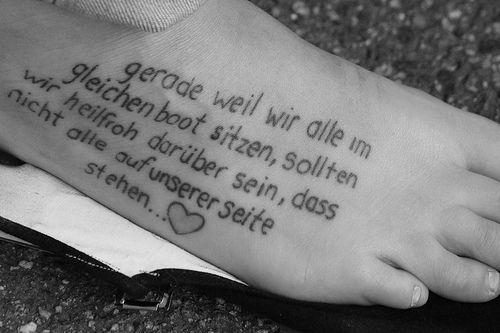 Marvelous Short Quote Tattoos For Girls On Foot