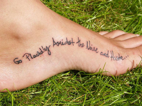 Stylish Words Graphics Tattoo On Heel