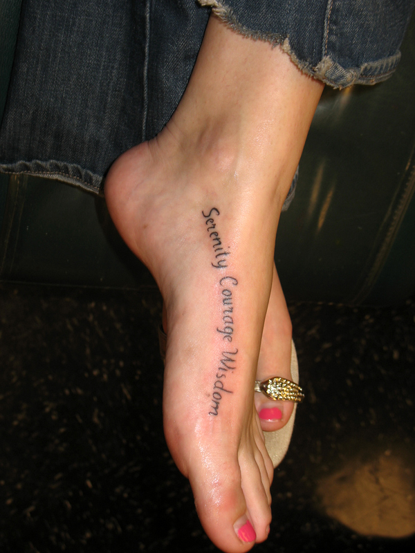 Chic Tattoos Of Quotes On Feet