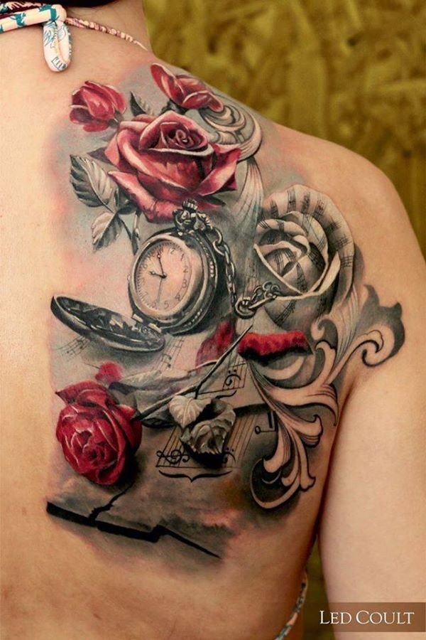 red rose flower tattoo