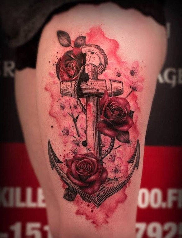red tose and anchor flower tattoo