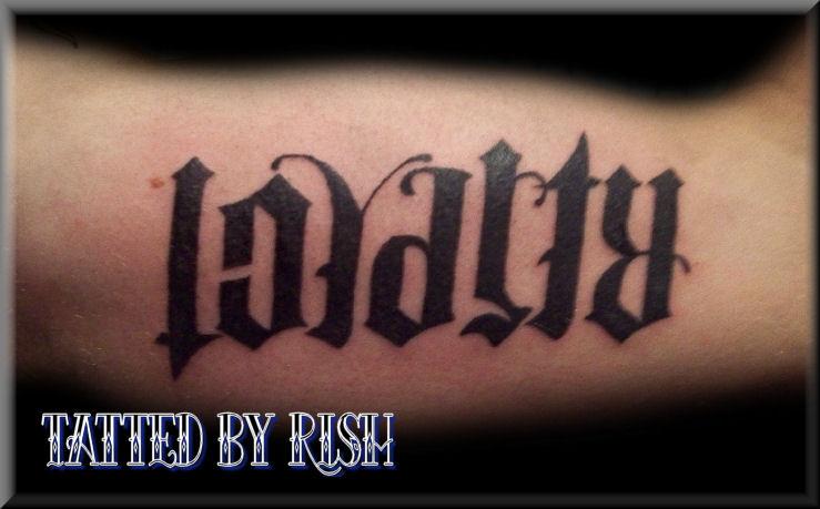 Ambigram Loyalty Respect Tattoo Design