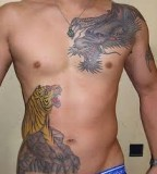 Rib Cage Tiger Dragon Tattoos For Men