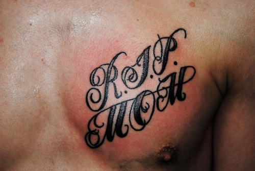 Simple Text Rip Mom Tattoo For Man
