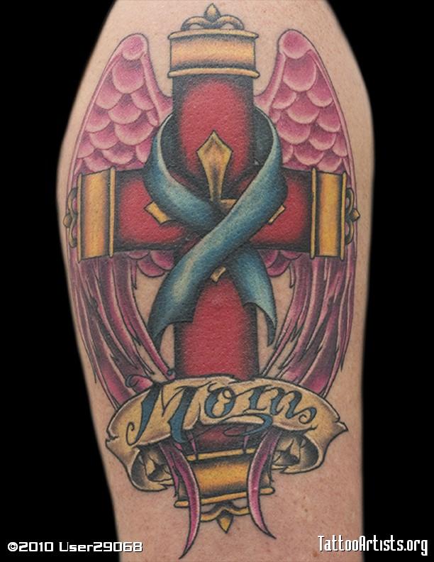 Colourful Cross Rip Mom Tattoo Artists