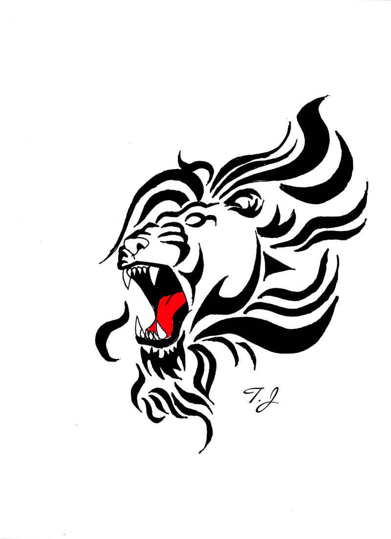 Tattoo Roaring Lion Drawing By Silgan