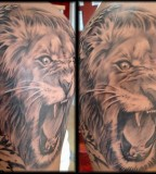 Aslan Roaring Lion Tattoos Design For Men