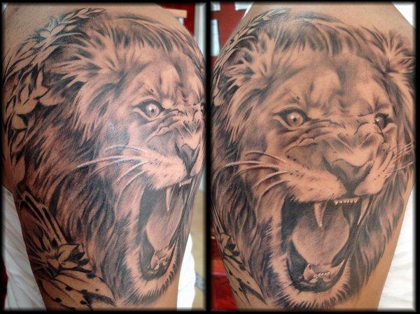 Aslan Roaring Lion Tattoos Design For Men