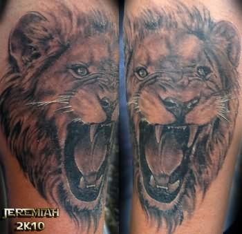 Roaring Lion Tattoos On Shoulders