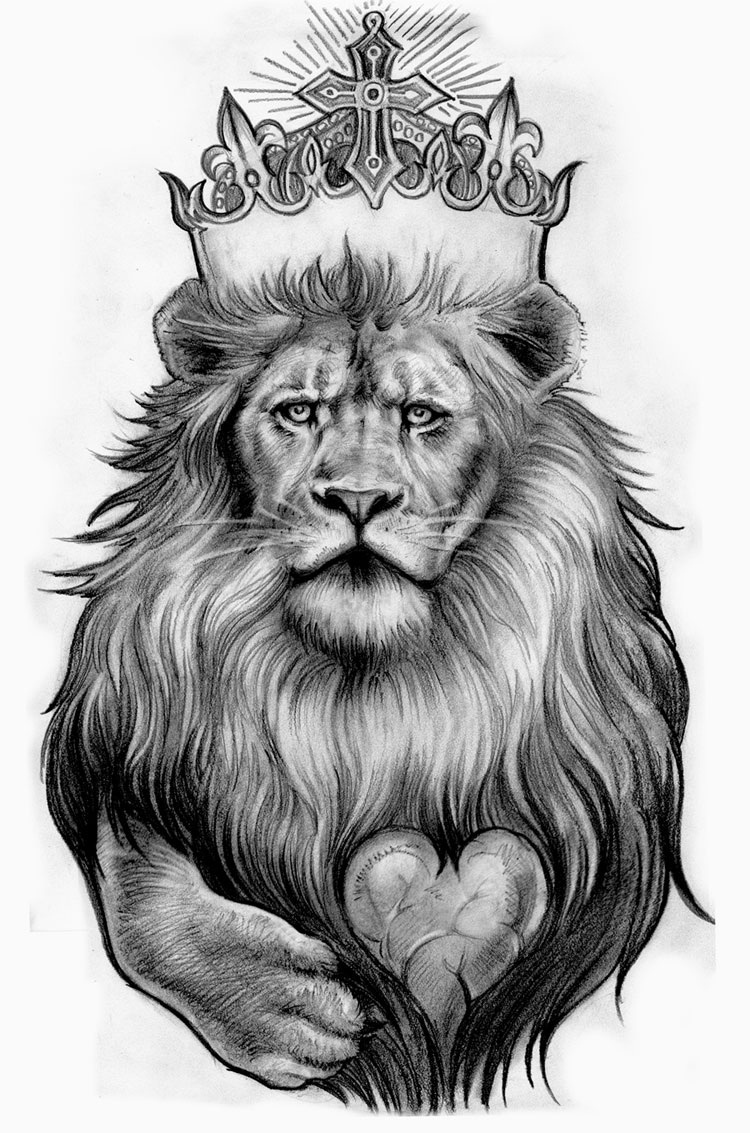 Lion and crown Tattoo Pictures