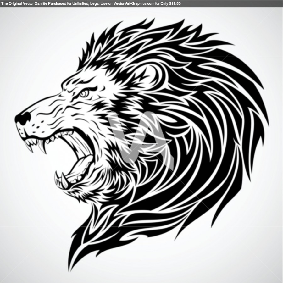 Vector Graphics Of Lion Roar Tribal Tattoo