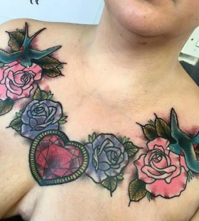 rose and heart chest tattoos for women