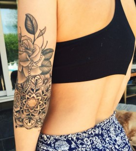 rose and mandala tattoos for women