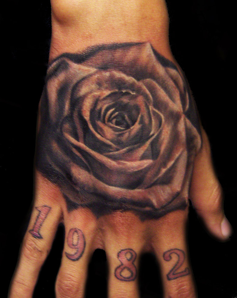 Bold Black Rose Flower Hand-Tattoos Design for Men
