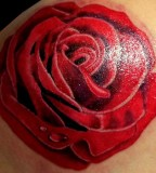 Beautiful Feminine Traditional Red Rose Tattoo Designs for Women