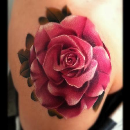 Beautiful Like-like 3D Red Rose Flowers Over-shoulder Tattoos for Women