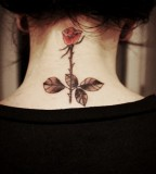 Cute & Feminine Red-Rose Neck Tattoo Design for Women / Girl