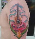 Guitar and Roses Flowers Tattoo Design On Shoulder for Men - Flower Tattoos