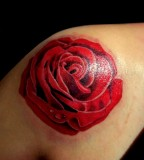 Amazing Red-Rose Shoulder Tattoo Design for Women by Inagugo (Deviantart)