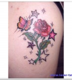 Red Rose Flower and Butterflies Shoulder Tattoo Design for Women