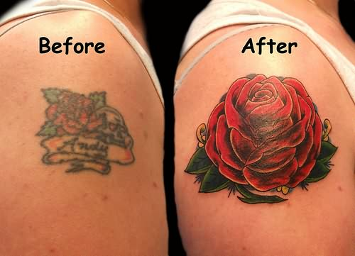 Awesome Red Rose Cover-up Shoulder Tattoo Job – Cover up Tattoos