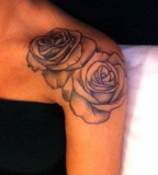 Exotic Twin Rose Flowers Shoulder Tattoo Design for Women - Flowers Tattoos